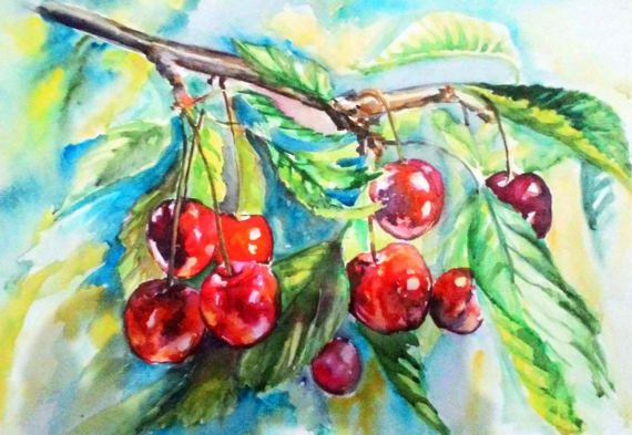 Digital art print Cherry Watercolor painting by PaintingByAHeart