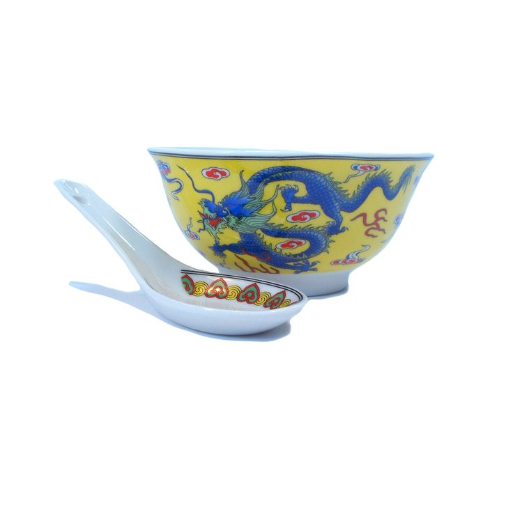 Chinese Bowl And Spoon Set Vintage Soup Bowl Original Gift Box Deadstock Blue Dragon Ceramic Cereal Bowl Small Yellow Porcelain China Plate Chinese Bowls Spoon Set Set Vintage