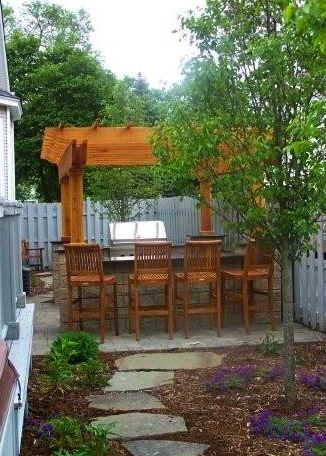 Backyard Entertaining Space, Pergola, Outdoor Kitchen. Flagstone Path.  Lombard , IL