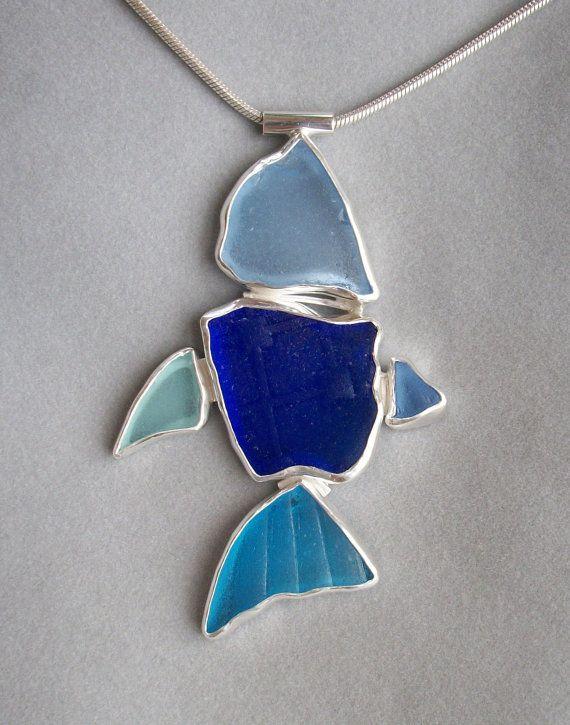 Blue Seaglass Fish Necklace #bluefishwardrobe @blue fish clothing