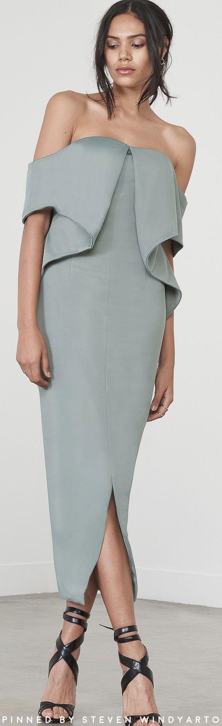 Lavish Alice - Sage Green Ribbed Fold Bandeau Midi Dress #lavishalice