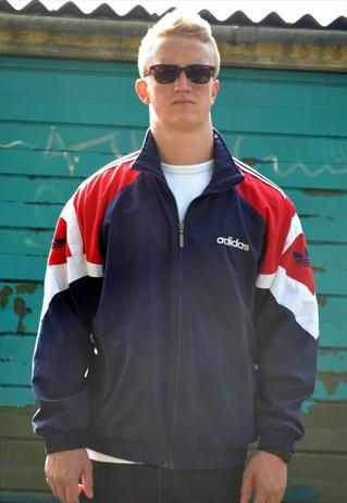 Retro Adidas Originals 90s Track Jacket - Blue, Red & White #3stripeoriginals 3stripeoriginals.blogspot.com