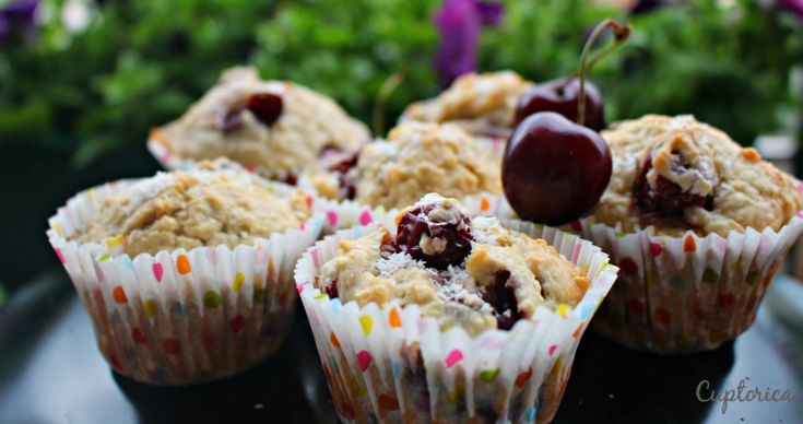Coconut cherry muffins