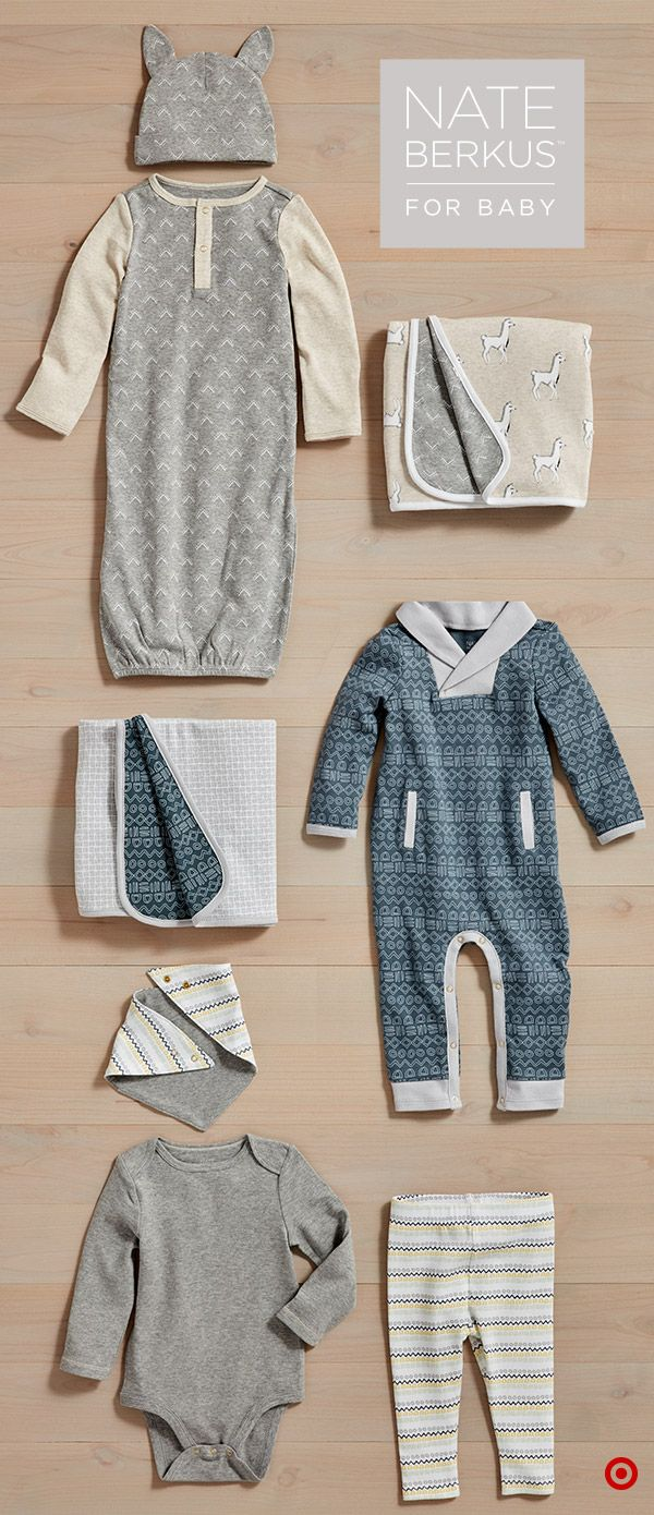 Dress your baby in seriously sweet style with the Nate Berkus layette collection, only at Target. There's something for every baby, including bodysuits, pants, sleep Ôn plays, rompers and sets. For both boys and girls, these pieces are available in beautiful, rich colors like peach, heathered gray and oatmeal, sage and more. Sold as separates and outfits, these pieces can easily be mixed and matched for a perfectly posh look.