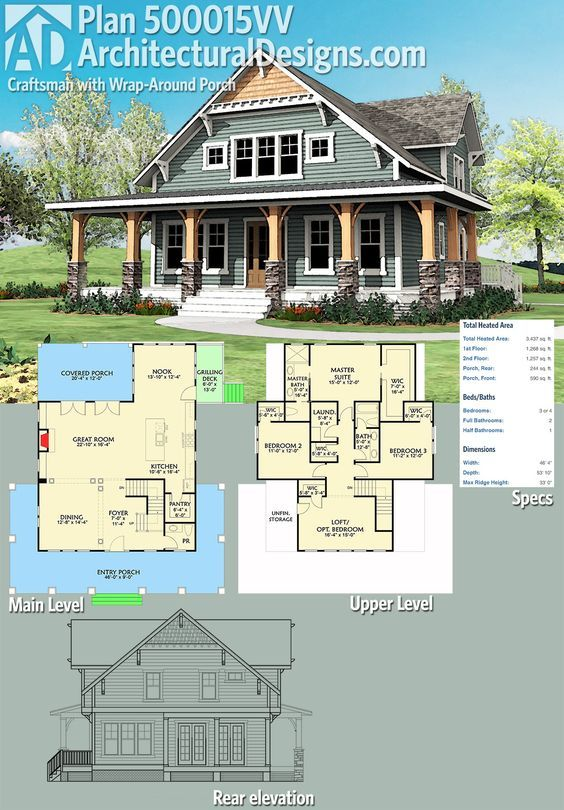 Architectural Designs Craftsman House Plan 500015VV has a wraparound front porch, a rear screened porch and upstairs laundry where all the bedrooms are located. How convenient! Over 3,400 square feet of heated living space. Ready when you are. Where do YOU want to build?