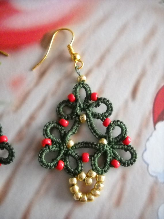 Christmas Tree earrings Tatting by PiccoleMani on Etsy