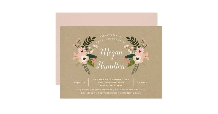 Chic bridal shower invitation features the bride to be's name in elegant calligraphy script on a rustic brown kraft background, framed by peach and blush pink flowers, buds and greenery. Personalize with your bridal shower details beneath.