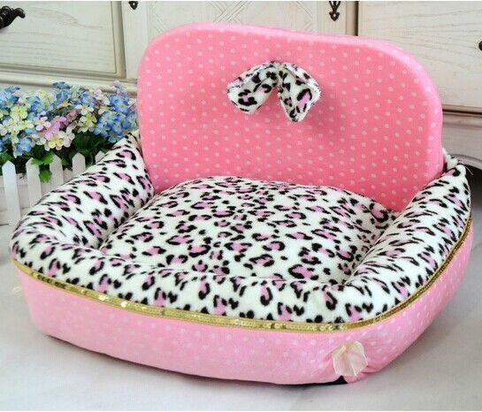 New Princess Leopard Print Pet Dog Cat Sofa Bed House Kennel Pink/Blue Size M