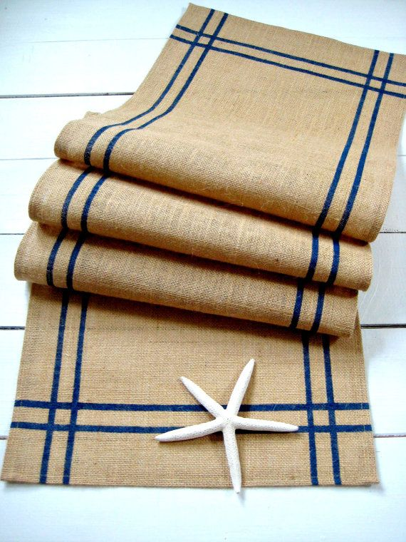 Burlap table runner with Navy Blue Stripes / by HomesteadBurlaps, $52.00