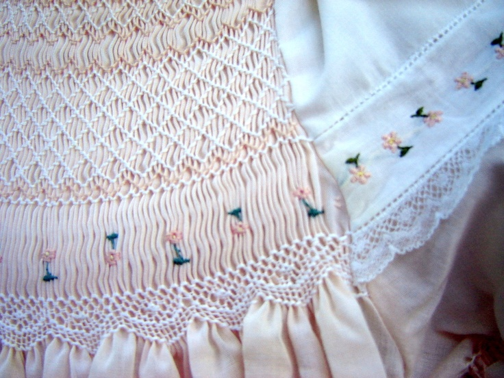 Close up of lace smocking design.