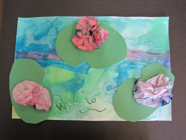Ms. Motta's Mixed Media: Monet Waterlilies with saving cream marbled paper