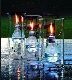 Lampe à huile ampoule verre et métal