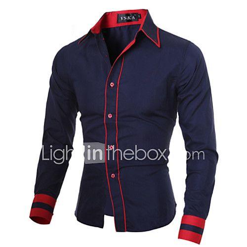 Camisa De los hombres A Rayas / Un Color Casual / Trabajo / Tallas Grandes-Mezcla de Algodón-Manga Larga-Negro / Azul / Rojo / Blanco / 2017 - $30469
