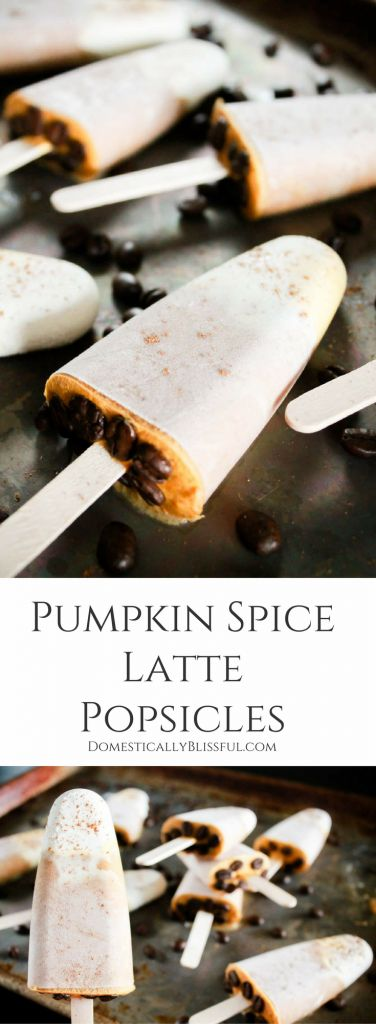 These Pumpkin Spice Latte Popsicles are the perfect sweet treat to transition you from the heat of summer to the festive flavors of fall! | fall dessert | pumpkin popsicle | coffee popsicle | cold dessert | chilled dessert | frozen dessert | fall party dessert | end of summer dessert | coffee beans | pumpkin latte | cinnamon | pumpkin spice dessert | coffee bean dessert | pumpkin spice popsicle | frozen treat | autumn dessert | fall popsicle | autumn popsicle | sweet treat | recipe |
