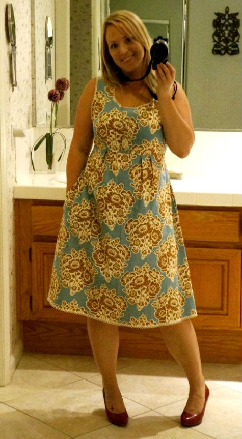 Caila-Made: Washi Dress Gone Cottage Chic Love the little line of ricrac/ribbon on the bottom!