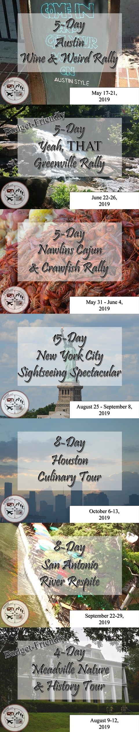exquisitEXPLORATIONS' Brand Spanking New RV Rallies, Coming to a city near you starting Spring, 2019!