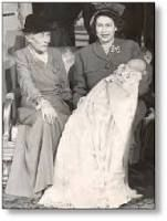 Victoria, Marchioness of Milford Haven with her granddaughter-in-law, the future Elizabeth II, and Elizabeth's sonCharles, future Prince of Wales (I've been trying to find this for FOREVER)