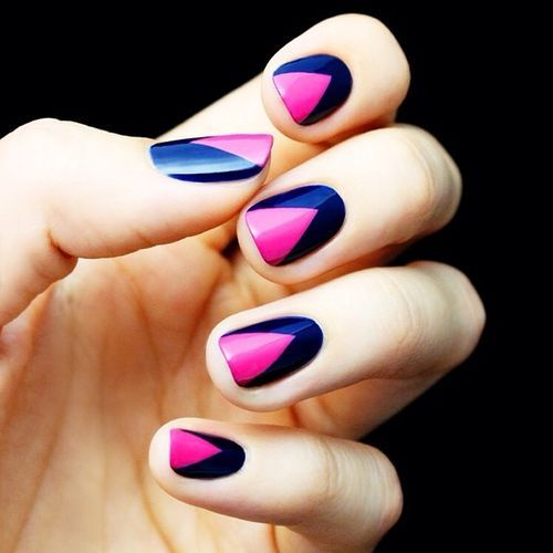 Mani Monday: Hot Pink and Navy Blue Chevron Nail Tutorial - Best 25+ Pink Blue Nails Ideas On Pinterest Pretty Nails