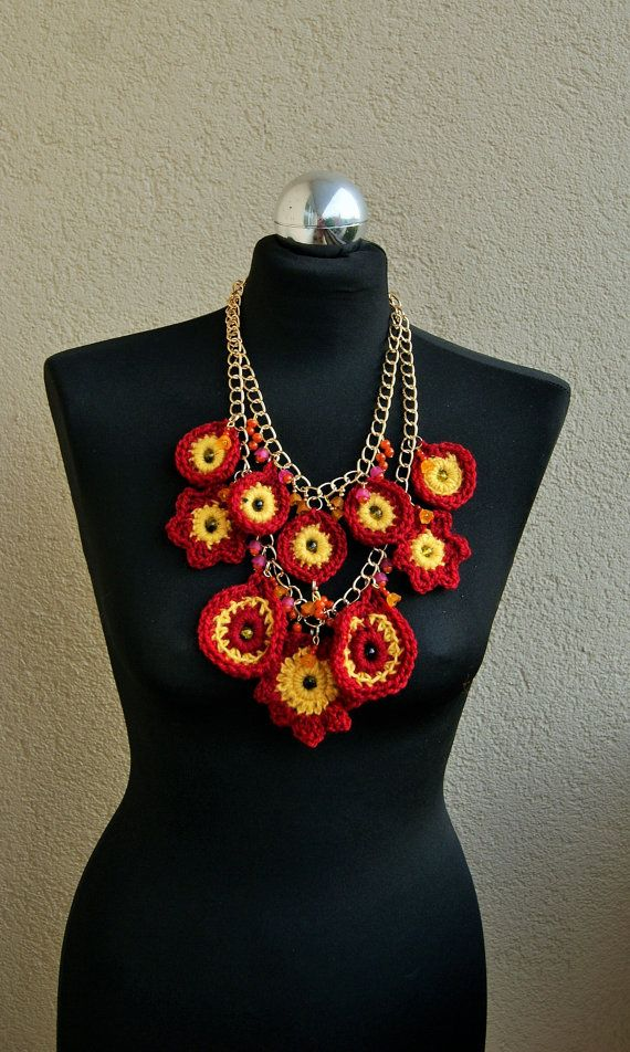 Summertime Statement  Bib crochet necklace by handmadestreet101