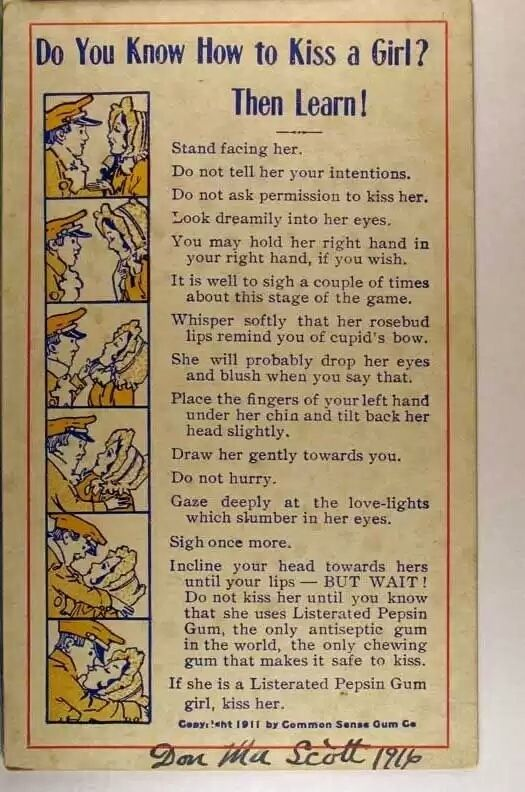 Do You Know How to Kiss a Girl? Then Learn... シ  Copyright (c) 1911 by Common Sense Gum Company #Listerated #Pepsin #Gum