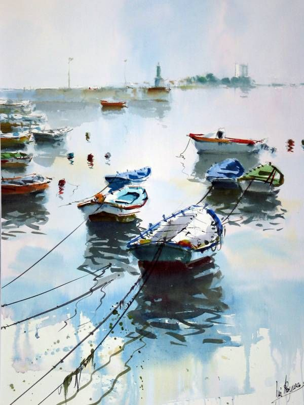 Barcas, acuarela sobre papel, 75 x 56 cm..Luis Martínez Romero