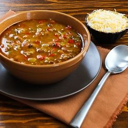 Kalyn's Kitchen®: Recipe for Spicy Slow Cooker Soup with Ground Turkey, Pinto Beans, Red Bell Pepper, and Green Chiles