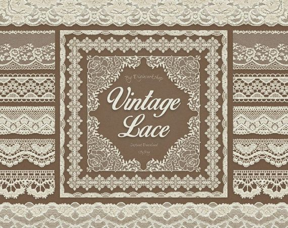 """Digital Lace Borders Clip Art """"Vintage Lace Borders"""" clipart  with digital vintage lace border images for scrapbooking, card making, invites"""