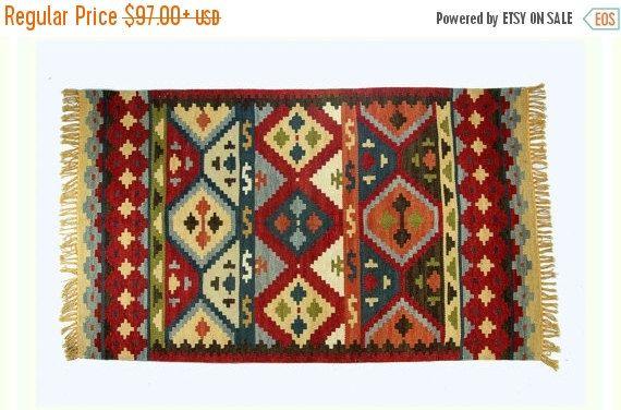 ON SALE Red Kilim Rug Hand knotted Custom Carpet by MyArtandKraft