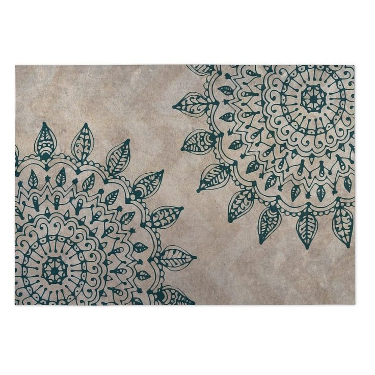 Kavka Designs Tan/ Green Pinwheel Heena Indoor/Outdoor Floor Mat ( 4' X 6' ) (Tan - Bohemian - Floral), Size 4' x 5'