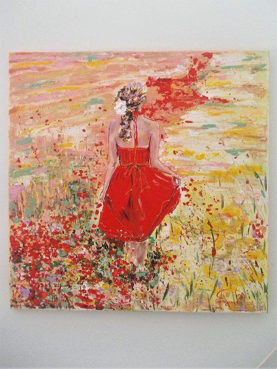 Original Acryl Malerei Frau In Einem Feld Mit Mohn Feld Mit Mohn Rote Mohnblumen Popy Malerei Frau Mit Mohn Popy Feld Frau Kunst Painting Acrylic Painting Spring Painting