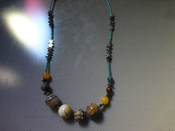 Galaxy Planet and Stars  solar system space geek necklace