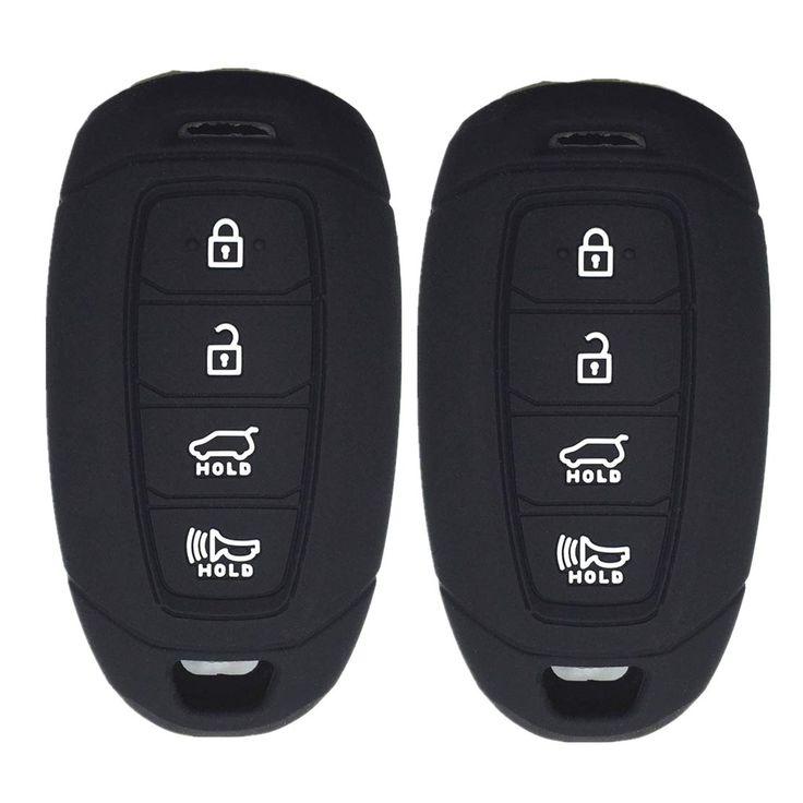 Ezzy Auto Pack 2 Black Silicone Rubber Key Fob Case Key Covers Key Jacket Skin Protectors fit for Hyundai Kona Azera Grandeur IG