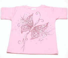 Kids T-Shirts - Trendy and Stylish T-shirts for Boys and Girls - Pink Flowing Butterfly Rhinestones KidsT-Shirt LollipopMoon.com only $32.00...