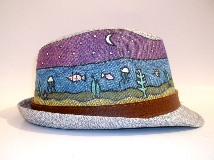 "Hand Painted Hats - Aquarium   A funny hand painted hat, with the theme ""Aquarium"".  The hat is brightly colored and have a modern designs.   Hats Material: Canvas  Hats are available in different colors and patterns.  Buy these or have your own customized!"