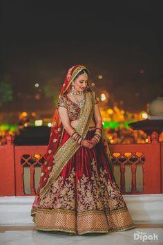 Bridal Lehengas - Marsala Velvet Lehenga | WedMeGood | Maroon and Gold Blouse, Marsala Velvet Bridal Lehenga with Zardosi Floral Embroidery and Gold Border, Red and Gold Double Dupatta | #wedmegood #marsala #bridal #lehengas