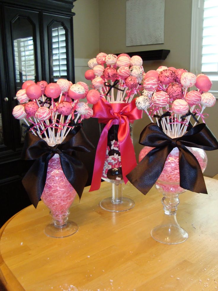 Cake pops in vases with styrofoam... cute centerpiece idea!
