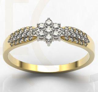 Pierścionek z białego i żółtego złota z diamentami/ Ring made from white and yellow gold with diamonds/ 3 672 PLN #ring #love #diamonds #gold