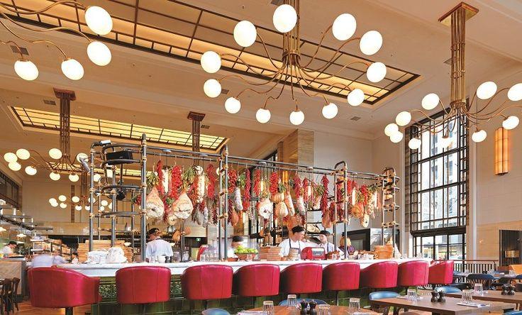 Art Deco style 12-light chandelier for Jamie's Italian Adelaide. Interior design: Martin Brudnizki Design Studio (MBDS)