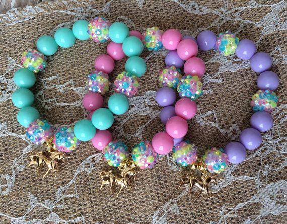 Set of 6 Unicorn party favor bracelet.. Unicorn by GirlzNGlitter