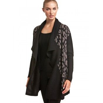 Mela Purdie Fall Front Jacket This fall front jacket is draped for a slouchy effect. Featuring a ribbed shawl collar and contrast animal print, slip it on for relaxed weekends at home or pack it for cool evenings on vacation. 100% Pure Italian Wool
