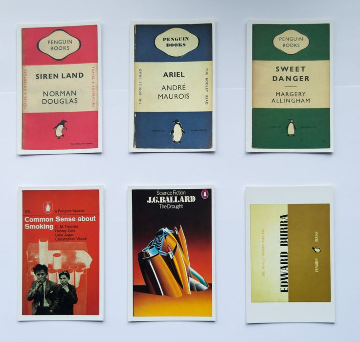 Penguin Book Cover Postcards by sustainableartisan on Etsy