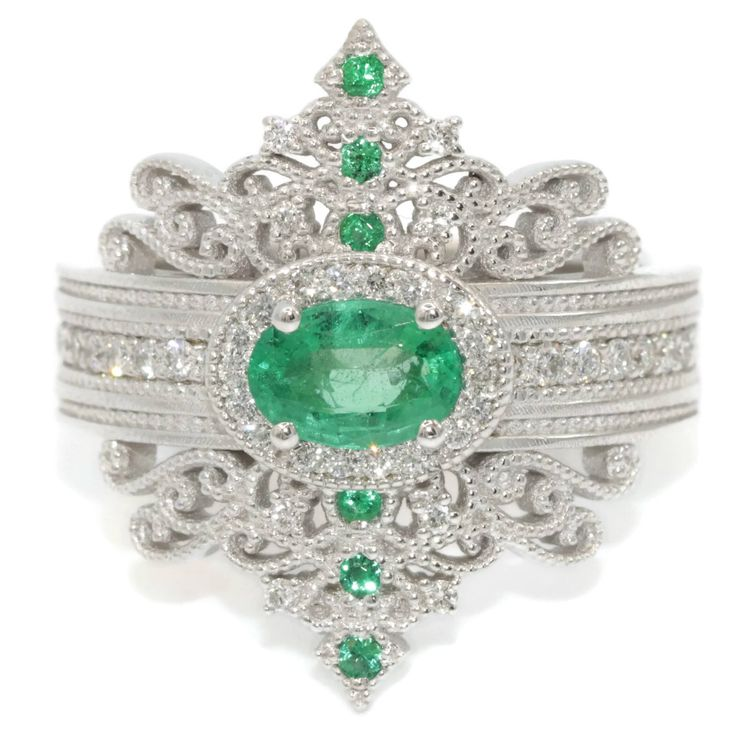 Emerald Engagement Ring, Princess Tiara ring, Victorian inspired modern ring by BridalRings on Etsy https://www.etsy.com/listing/531040022/emerald-engagement-ring-princess-tiara
