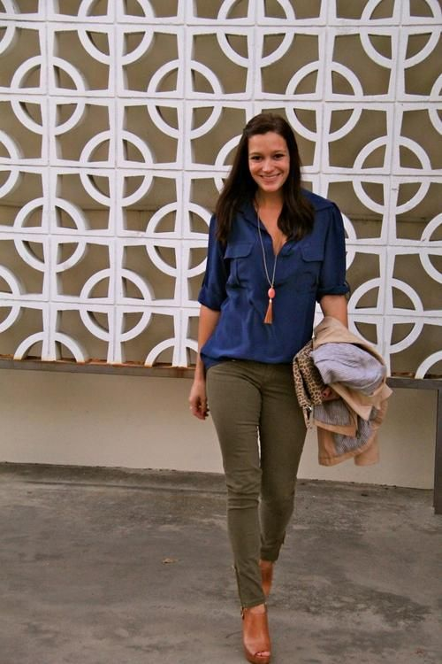 olive skinnies / cobalt / cognac / leopard / outfit