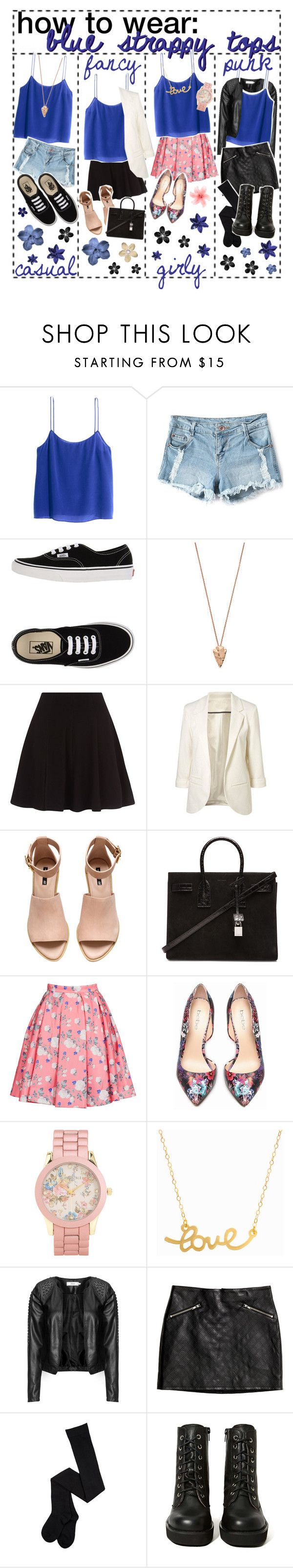 """""""How to wear blue strappy tops"""" by dream-girl-icons ❤ liked on Polyvore featuring H&M, Vans, Pamela Love, SHAN, Yves Saint Laurent, ERIN Erin Fetherston, Bebe, Aéropostale, Minnie Grace and Zizzi"""