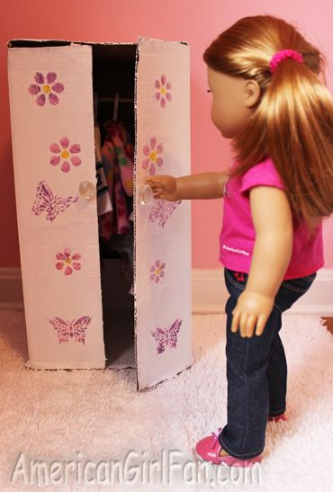How to make a doll closet from cardboard box at AmericanGirlFan.com. Has a lot of other cute ideas.