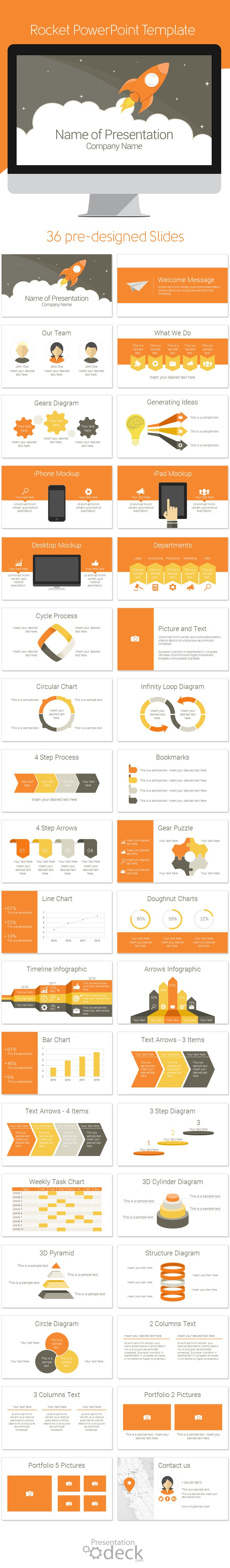 Rocket PowerPoint template in flat design style with 36 slides. This template is multipurpose and can be used in any topics including, business startup, marketing, graphic design, creative agencies, etc.  #powerpoint #powerpoint_templates #presentations