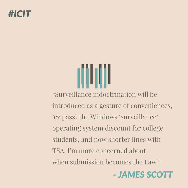 """Surveillance indoctrination will be introduced as a gesture of conveniences, 'ez pass', the Windows 'Surveillance' operating system discount for college students, and now shorter lines with TSA, I'm more concerned about when submission becomes the Law."" - James Scott, Senior Fellow, CCIOS   ThoughtLeaders #ThoughtLeadership #NationalSecurity #Russia #Putin #USA #US #moscow #China #Information #Warfare"