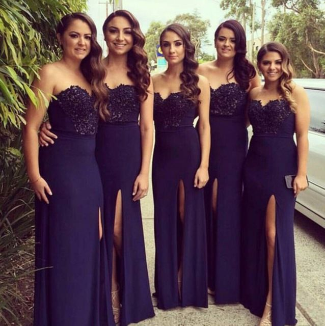 Sweetheart Strapless Lace Bodice Long A Line Chiffon Bridesmaid Dress With Slits On The Side For Wedding Party Prom Gown