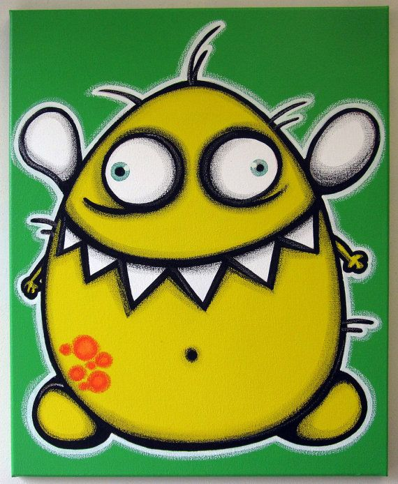 YELLoW FLyiNG MONsTER  16x20 Original Painting On Canvas For Kids Rooms Or  Nursery, Monster
