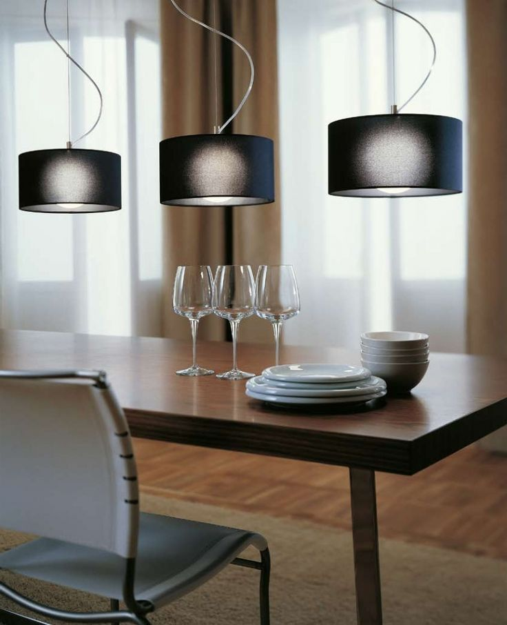 Fog - moderní interiérové osvětlení s černým látkovým stínidlem / ceiling light